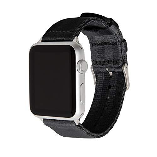 Archer Watch Straps | Sicherheitsgurt Stil gewebtes Nylon Armband für Apple Watch | Uhrenarmband für Herren und Damen | Schwarz/Edelstahl, 42/44mm