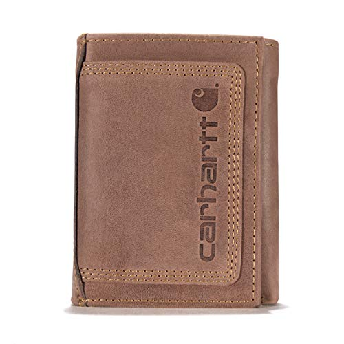 Carhartt Men's Standard Top Grain Leather Trifold, Contrasting Stitch, Detroit - Brown, One Size