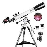 Télescopes pour adultes, ouverture 70 mm et longueur focale 700 mm, télescope d'astronomie professionnel pour enfants et débutants – avec monture EQ, 2 oculaires Plossl et adaptateur pour smartphone
