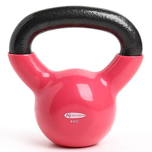 ActiveForever Kettlebell, Kettlebell in ghisa Rivestita in Neoprene, Kettlebell, Fitness Kettlebell (Rosso, 4Kg)