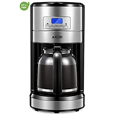 Coffee Maker, Aicok 12 Cup Coffee Maker, Coffee Maker Programmable, Coffee Pot, Coffee Filter, Drip Coffee Maker, 24 Hours Programmable Setting, Quiet Coffee Maker