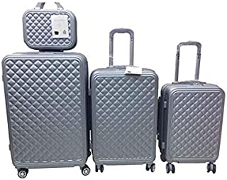 Travel Luggage Trolley bags 3 Pieces Set and 1 Piece Beauty Case, Silver