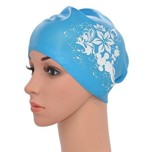 Medifier. Elastico Per Capelli Lunghi In Silicone, Da Donna, Per Piscina, Cuffie, Cappelli, Con Stampa A Fiore, Sky Blue