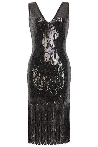 Coucoland Damska sukienka z cekinami, seksowny dekolt w kształcie litery V, sukienka koktajlowa, styl retro z filmu Wielki Gatsby, impreza damska na karnawał, kostium