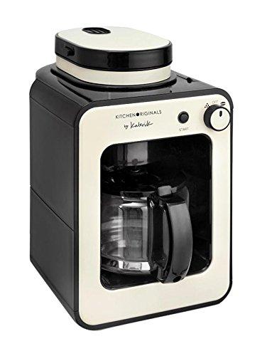 Team Kalorik TKG CCG 1001 KTO Cafetière automatique 2 en 1 avec moulin intégré, 600 W, 0,6 l, plastique, acier inoxydable, verre, céramique, beige/blanc