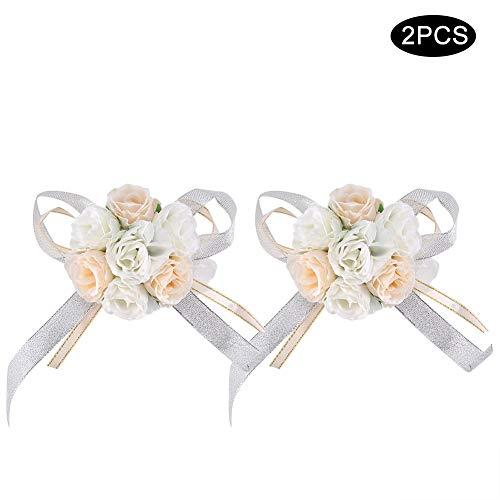 Nikou 2 stks Mooie Hand Bloem Bruidsmeisje Pols Corsage Decoraties Rose Satijn voor Prom, Feest, Bruiloft (Wit+Rose Rood)