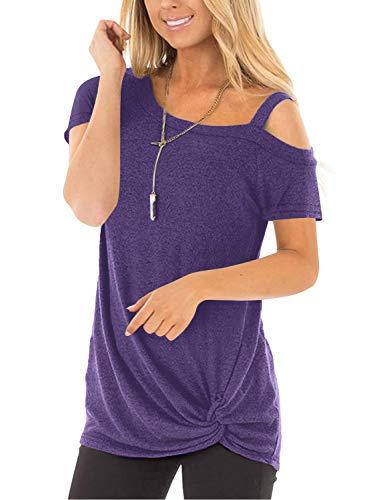 Beluring Longshirt Damen Kurzarm Sexy Oberteil Schulterfrei Tshirt Sommer Tops Bluse Tunika Lila M
