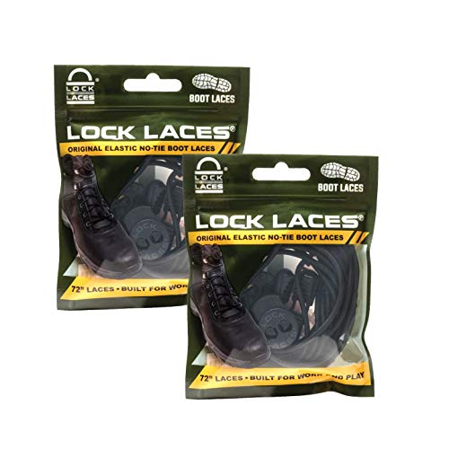 Lock Laces for Boots (2 Pair) Premium Heavy Duty Elastic No Tie Boot Laces for Boots and Shoes (Black-Black)