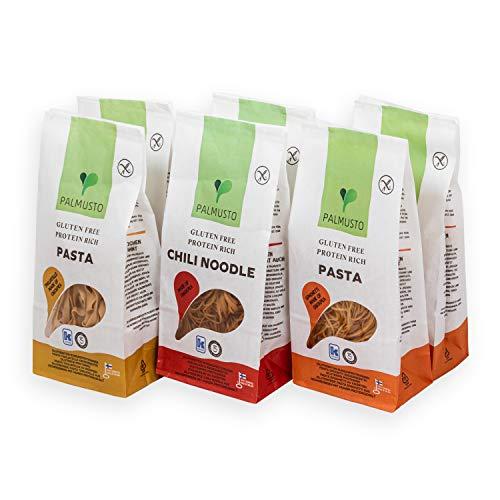 Palmusto Glutenfreie Kichererbsennudeln 6er Set, vegane Pasta mit hohem Proteingehalt - Spaghetti, Tagliatelle, Nudeln