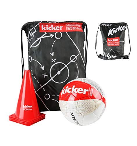 HUDORA Fußball-Set Kicker Edition, Matchplan inkl. Fußball (Gr. 5), Ballnadel, Gym-Bag & 4 Pylonen, rot/weiß/schwarz
