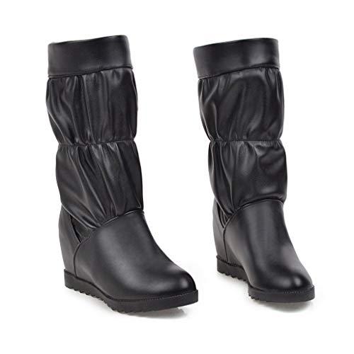 FRAUIT Stivali Donna Zeppa Interna Boots Platform Stivaletti Ragazza Pelle Tacco Scarponcini Invernali Da Neve Scarpe Eleganti Con Tacco Medio Polacchine Invernale Decollete Stivaletto