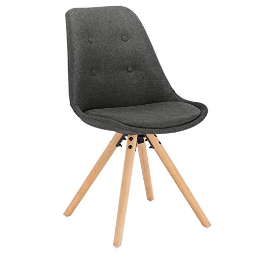 WOLTU® BH54dgr-1 1 Stück Esszimmerstuhl, Sitzfläche aus Leinen, Design Stuhl,Küchenstuhl, Holzgestell, Dunkelgrau