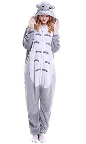 """Dolamen Adulto Unisexo Onesies Kigurumi Pijamas, Mujer Hombres Traje Disfraz Animal Pyjamas, Ropa de Dormir Halloween Cosplay Navidad Animales de Vestuario (Medium (61""""-65""""), Totoro)"""
