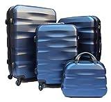 R.Leone Valigia da 1 pezzo Fino a Set 4 Trolley Rigido grande, medio, bagaglio a mano e beauty case 4 ruote in ABS 2050 (Blu, Set 4 XS+S+M+L)