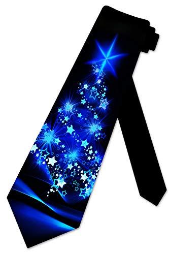 Three Rooker Weihnachts-Krawatte mit Baum-Motiv, für Herren - Blau - Einheitsgröße