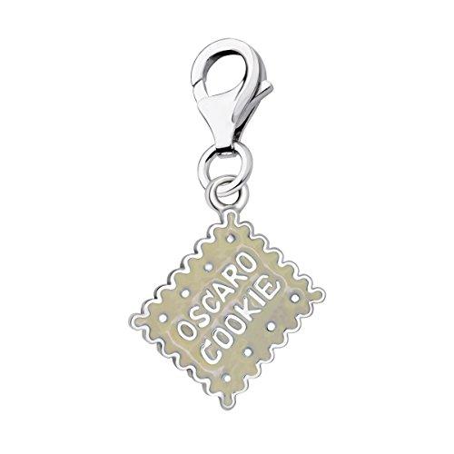 Quiges Charm Anhänger Creme Emaille 3D Oscaro Plätzchen Cookie 925 Silber mit Karabinerverschluss für Bettelarmband