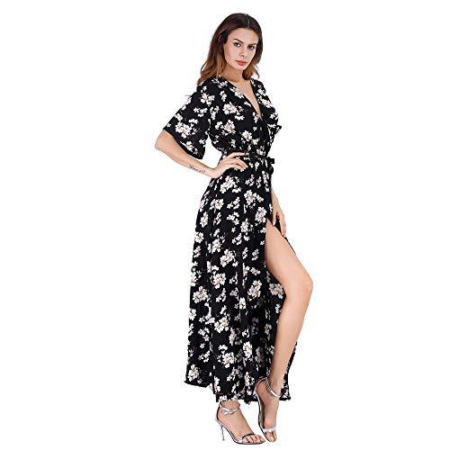 Luojida. Vestido mujer largo estampado floral cuello en V casual manga corta asimétrico con cinturón Bohemian vestido de playa noche cóctel boda Maxi Beach Dress Negro  S