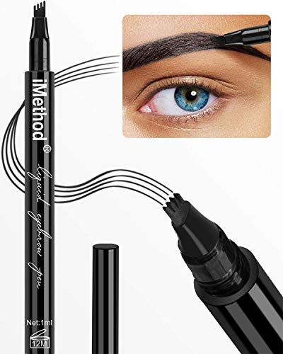 Eyebrow Tattoo Pen - iMethod Microblading Eyebrow Pencil with a Micro-Fork Tip Applicator Creates Natural Looking Brows Effortlessly and Stays on All Day, Black