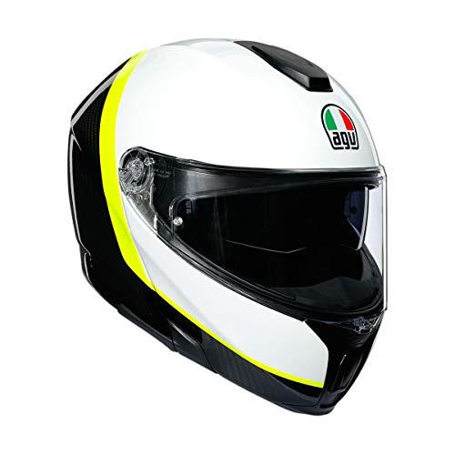 AGV Unisex-Erwachsene Sportmodular Helm, Carbon/Weiß/Gelb, Small