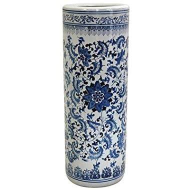 ORIENTAL FURNITURE 24  Floral Blue & White Porcelain Umbrella Stand