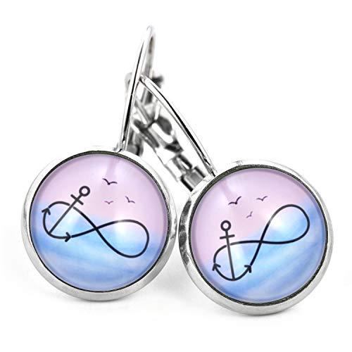 SCHMUCKZUCKER Damen Ohrringe Motiv Unendlichkeit und Anker Edelstahl silber-farben pastell rosa blau