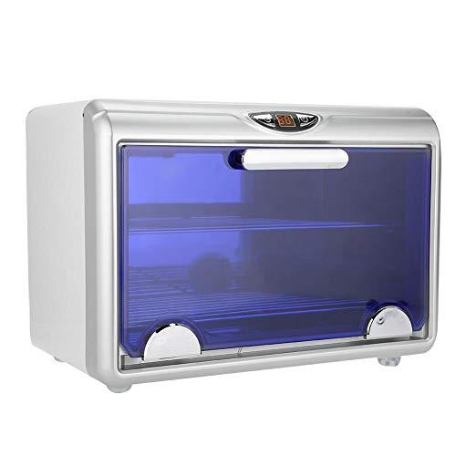 Gabinete de esterilizador UV, gabinete profesional de desinfección por calor de esterilización de 360 grados, esterilizador automático de doble capa para toalla, herramientas(Enchufe de la UE 220V)
