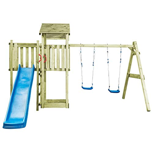 vidaXL Speelhuis Ladder, Glijbaan en Schommels Hout Speeltoestel Spelen Tuin