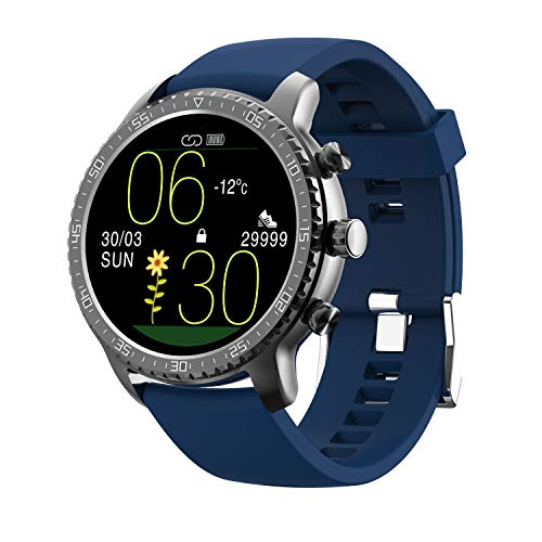 Tinwoo Smart Watch for Android / iOS , Support Wireless Charging, 5ATM Waterproof Bluetooth Health Tracker with Heart Rate Monitor, Digital Smartwatch for Women Men, (TPU Band Blue)