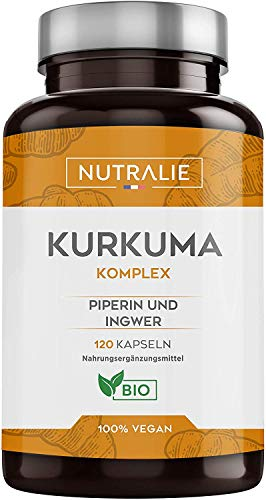 Kurkuma Biologisch 100% Natuurlijk | Optimale Combinatie van Kurkuma en Zwarte Peper | 120 Vegan Capsules met Hoge Absorptie van Curcumine, Gember en Piperine | Nutralie
