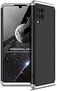 Samsung Galaxy A42 5G GKK 360 Degree Protection Shockproof Case - Without Screen Protector (Black-Silver)