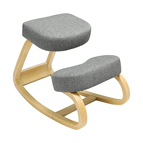VIAGDO Ergonomic Kneeling Chairs for Home Office Rocking Desk Chair Office Kneeling Chair Wood Kneel Chair for Posture Correction Back Pain Stool with Comfortable Cushion, Gray