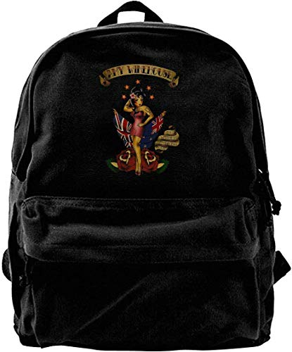 Ahdyr Amy Winehouse Vintage Casual Canvas Backpack Travel Hiking Rucksack Students Backpack for Men Women