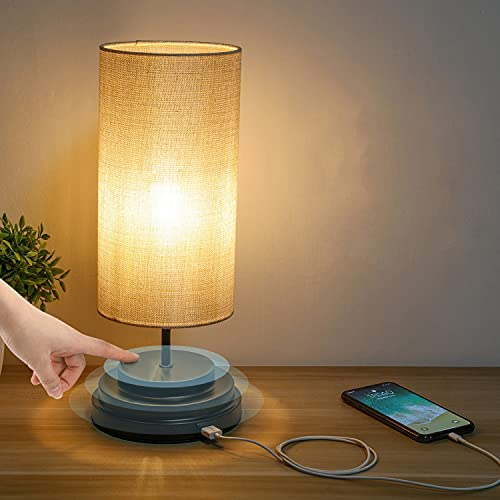 Kohree LED Lamparas de Mesita de Noche Tactil Control Regulable Puerto USB Luz Nocturna para Dormitorio, Oficina, Bombilla Moderna Mesa Lamparitas Noche Dormitorio Tactiles Lampara Mesilla Noche