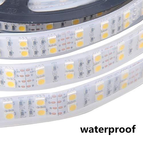 Striscia di luce Luz de tira Led 5050 cinta de cuerda de tubo de silicio impermeable Ip68 doble fila 600led 5m Dc-12v 6500k blanco Rgb cinta