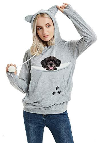 Unisex Pet Carrier Hoodie Cat Dog Pouch Holder Sweatshirt Shirt Top 2XL Light Grey