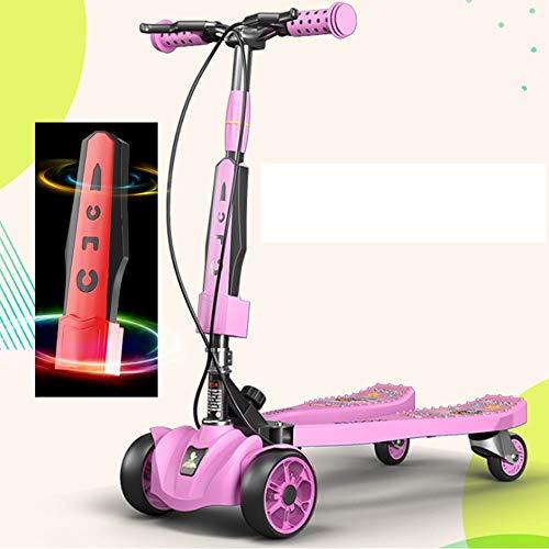 Scooter de Rana para niños de 3-12 años Tijera de Cuatro Ruedas con música para automóvil Scooter de Scooter para niño y niña Frog Bicicleta para niños Altura Regulable 78 cm -90cm