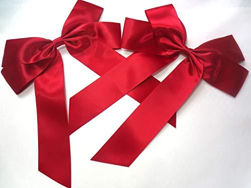 2 Stück Große Satinschleife 20 x 30 cm,Geschenkschleife,Dekoschleife,Satin, Schleife (2 Stück weinrot)