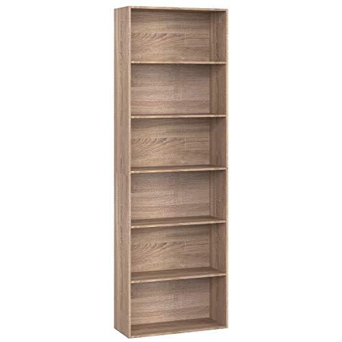 Homfa Libreria in Legno Truciolato, Scaffale Espositore con 6 Ripiani Spaziosi, Mobile Moderno Decorativo per Soggiorno ed Ufficio (Marrone), Carico 30kg