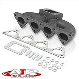 AJP Distributors Performance Racing JDM Cast Iron T3/T4 Turbo Manifold Exhaust Header w/Centered Wastegate For Integra Civic CRX Del Sol B16 B18 B20 B-Series 88 89 90 91 92 93 94 95 96 97 98 99 00 01