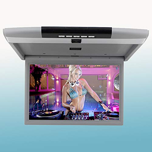 LZHYA Monitor De Techo De Coche, Car Stereo Player MP5 con Pantalla Abatible, Overhead Car TV Pantallas, con USB SD HDMI Altavoz 12 / 24V Amplio Voltaje, 17 Pulgadas (White)