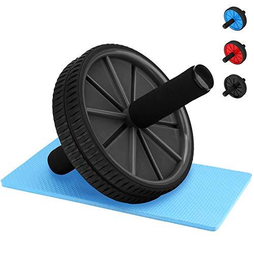 REEHUT AB Roller Aparato de Abdominales AB Wheel Rueda La Rueda de Ejercicios con Doble Rueda y cómodos Mangos de Espuma - Fácil de Montar, Ideal para el Entrenamiento Abdominal, Negro