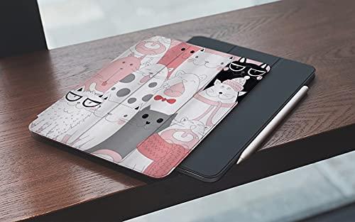 MEMETARO Funda para iPad (9,7 Pulgadas 2018/2017 Modelo), Gato Dibujos Animados Gatitos Divertidos Sonrientes Gafas Bufandas Doodle Diseño Hum Smart Leather Stand Cover with Auto Wake/Sleep