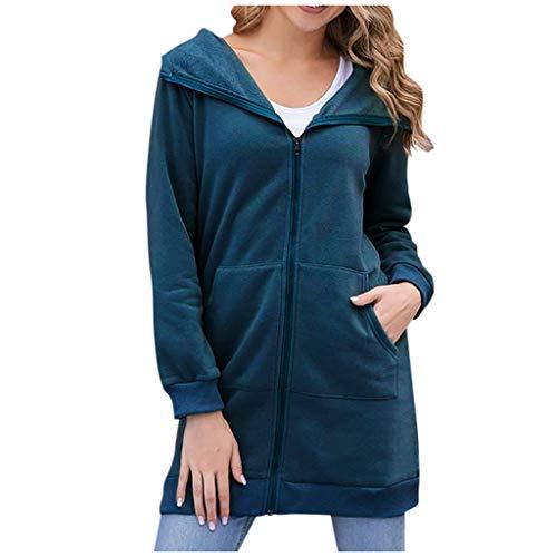 Xmiral Kapuzenjacke Damen Einfarbig Dünn Langärmliges Sweatshirt Langer Jacken Mantel Reißverschluss Tasche Slim Fit Strickjacken(Blau,S)