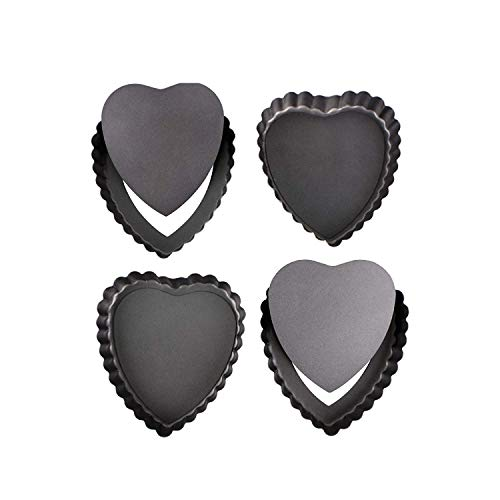 webake Plat a Tarte Lot de 4 Moule à Mini Tartelettes Moule avec Fond Amovible en Acier Noir Couleur Revêtement Anti-adhésif Ø10 cm