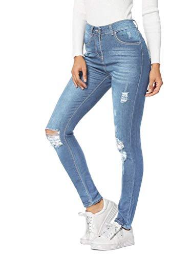 Minetom Femme Jeans Déchiré Push Up Skinny Slim Fit Stretch Boyfriend Denim Jean Troué Pantalons Crayon Taille Haute Jeggings Pants D Bleu Clair M