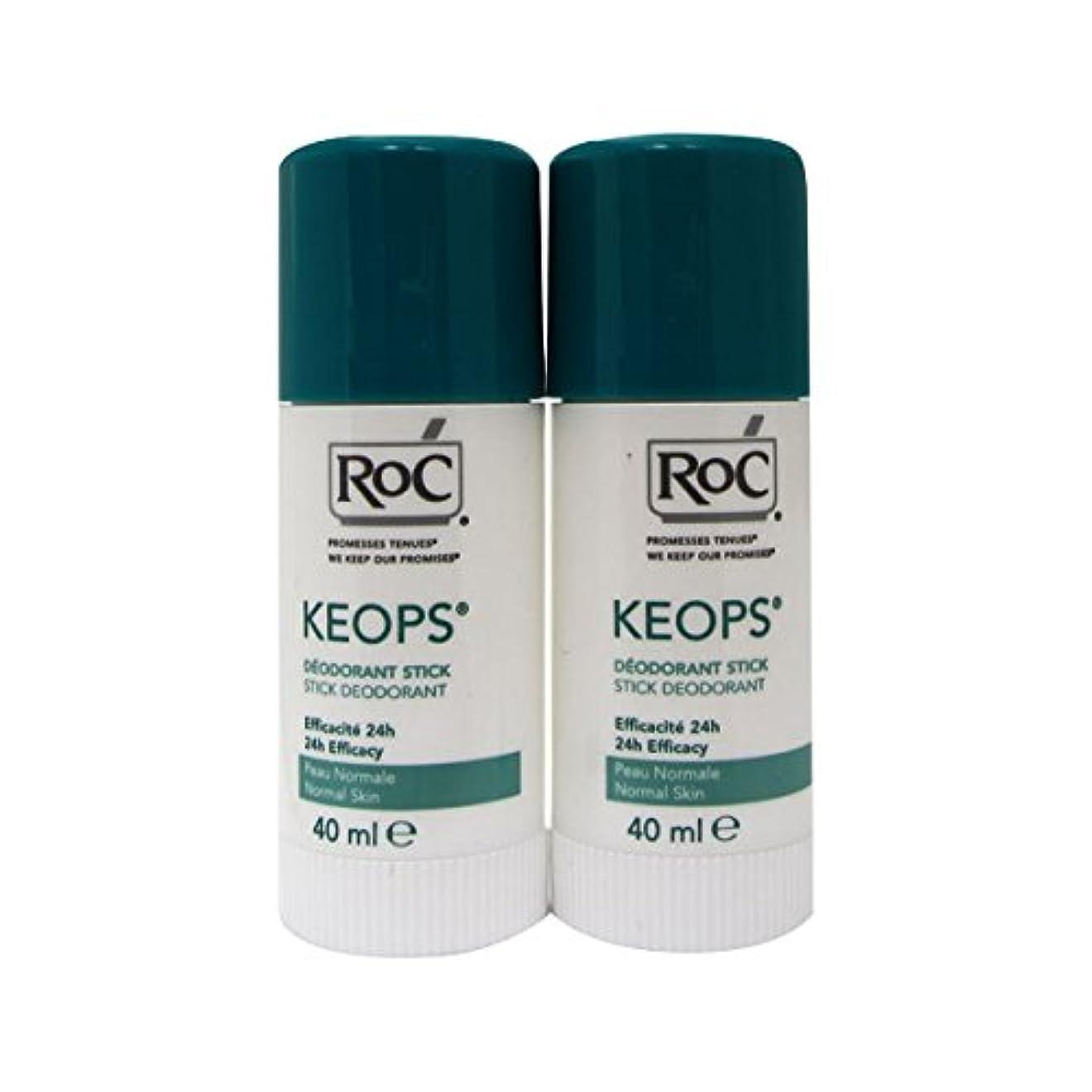 アレルギー性ラテン民族主義Roc Keops Deodorant Stick Soft Sweating 2x40ml [並行輸入品]