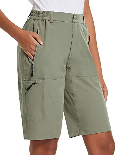 BALEAF Women's 10 Inches Quick Dry Stretch Hiking Cargo Shorts with Zippered Pockets UPF 50+ for Camping, Travel Raw Khaki Size S