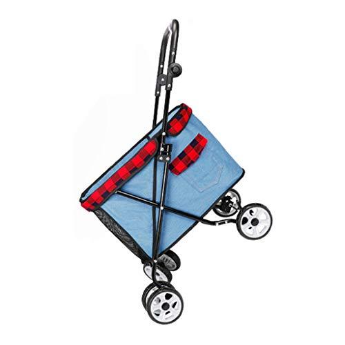 HHGO hondenbuggy tot 25 kg, opvouwbare hondenwagen kinderwagen voor kleine middelgrote en grote hondenkat 4 wielen, puppy buggy huisdieraccessoires, reistas, jogger hondenbuggy