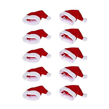 ONEYIM 10pcs Mini Santa Hat Wine Bottles Cover Home Christmas Decor