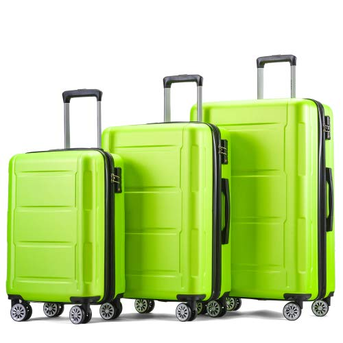 Miracle Girl Hand Luggage Expandable Hard Shell Travel Suitcase Set with TSA Lock Telescopic Handle and 4 Wheels Trolley Suitcase Travel Suitcase Green M/L/XL